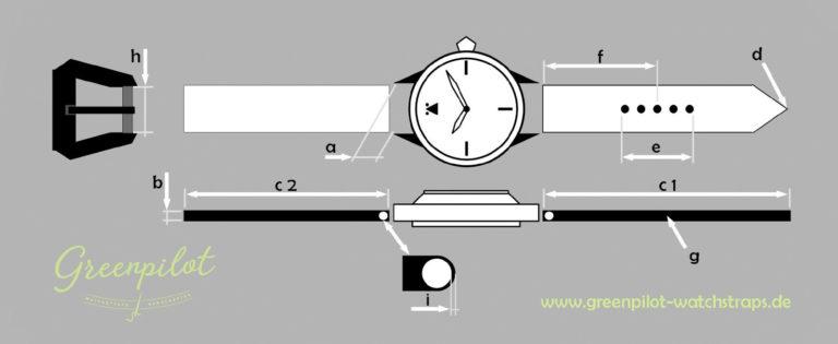 Greenpilot watchstraps Bestellinfos Schema Solid Line