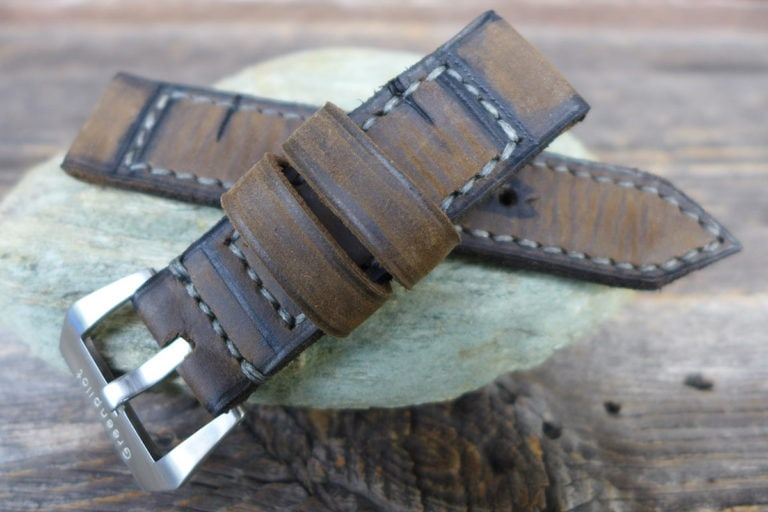 Greenpilot watchstraps Modelle burned and aged vintage line closed stitch b and a dunkelbraun oliv