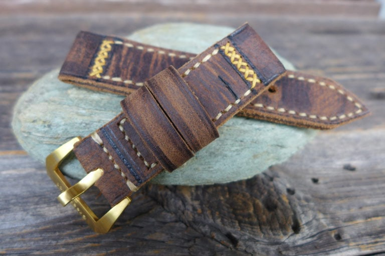 Greenpilot watchstraps Modelle burned and aged vintage line cross stitch b and a Wasserbueffel dunkelbraun