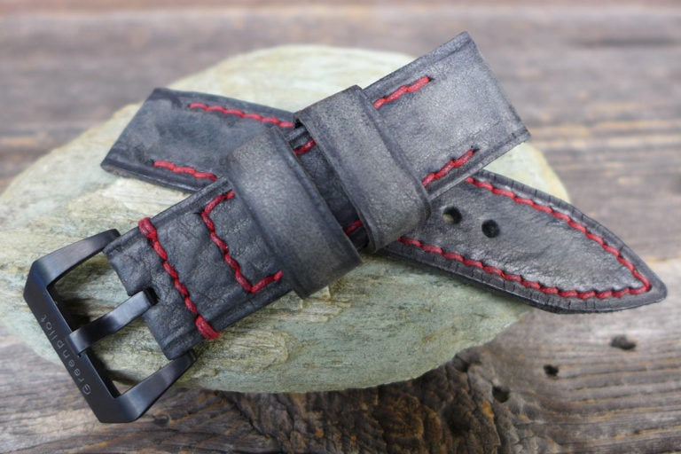 Greenpilot watchstraps Modelle burned and aged vintage line open stitch b and a graphit grau