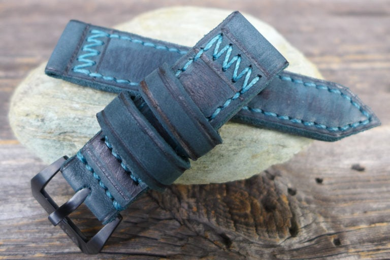 Greenpilot watchstraps Modelle burned and aged vintage line triangle stitch b and a petrol