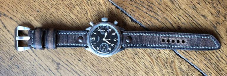 Greenpilot watchstraps Sondermodell Heritage Navigator 1 an einer Hanhart Flieger
