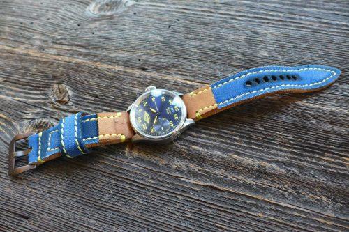 Greenpilot-watchstraps-Kollektion-CanvasLine-Flaq-Style-Bild-3-Canvas-indigo-blau-Garn-signalgelb