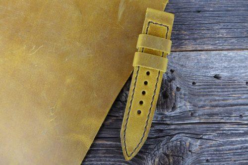 Greenpilot-watchstraps-Leder-Solid-Line-gelb-dark-broom-PullUp