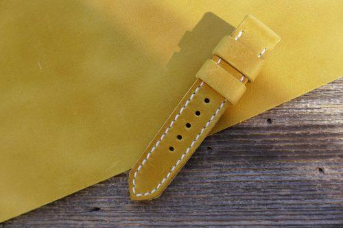 Greenpilot-watchstraps-Leder-Solid-Line-gelb-senfgelb