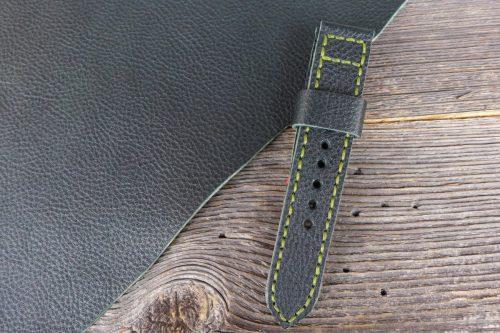Greenpilot-watchstraps-Leder-Solid-Line-gruen-schwarz-gruen-genarbt