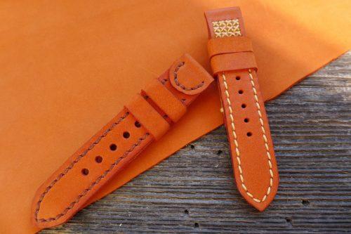 Greenpilot-watchstraps-Leder-Solid-Line-rot-orange-rost