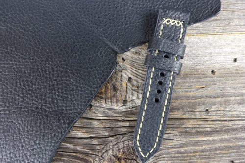 Greenpilot-watchstraps-Leder-Solid-Line-schwarz-schwarz-genarbt-matt